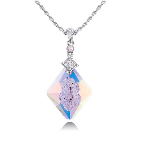 Alonza - Swarovski kristályos nyaklánc - színjátszó fehér