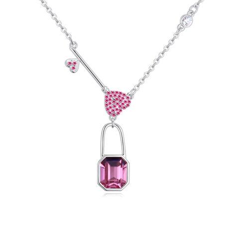 Padlock - rózsaszín- Swarovski kristályos-nyaklánc
