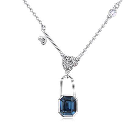 Padlock - kék -Swarovski kristályos-nyaklánc