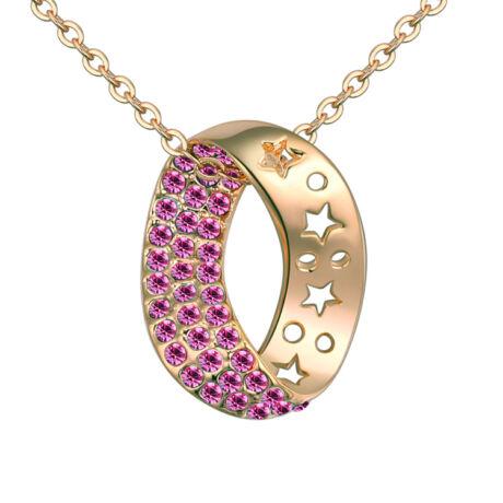 Arany kristálykanyar - Swarovski kristályos nyaklánc - rózsaszín
