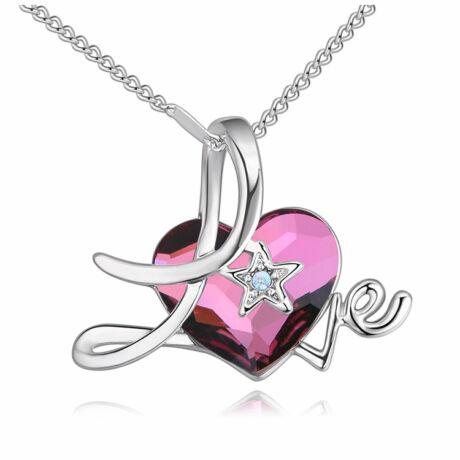 Love heart 2.- Swarovski kristályos nyaklánc - bordó