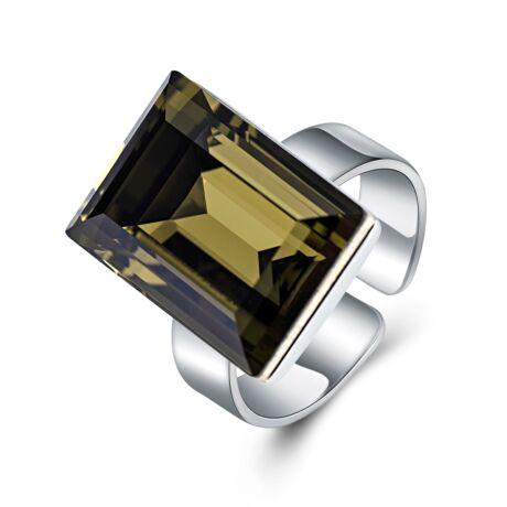 Ragyogó fény - állítható méretű Swarovski kristályos gyűrű - Khaki - oliva zöld