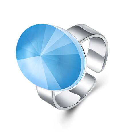 Sejtelem - állítható méretű Swarovski kristályos gyűrű - Summer Blue - világoskék