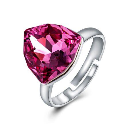 Absztrakt - állítható méretű Swarovski kristályos gyűrű - Rose - rózsaszín