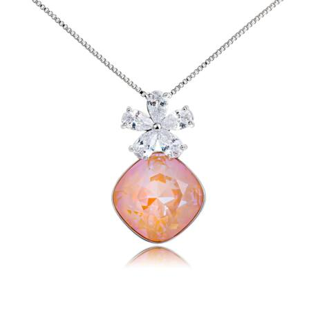 Virágálom - Swarovski kristályos nyaklánc- Light Peach - barackszín