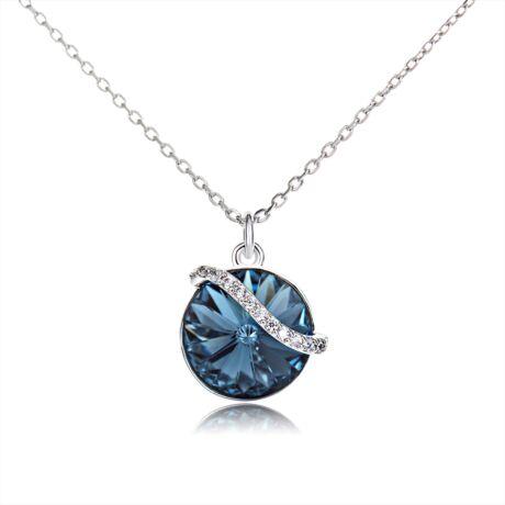 Hullámkör - Swarovski kristályos nyaklánc- Montana - kék