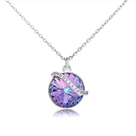 Hullámkör - Swarovski kristályos nyaklánc- Paradise Shine - színjátszós lila