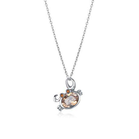 Horoszkóp - Swarovski kristályos nyaklánc- RÁK - borostyán