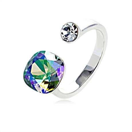 Kettősség - állítható méretű Swarovski kristályos gyűrű - Vitrai Light - színjátszós zöld