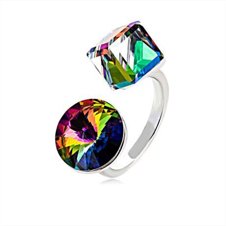 Design - állítható méretű Swarovski kristályos gyűrű - Vitrai Medium - színjátszós zöld