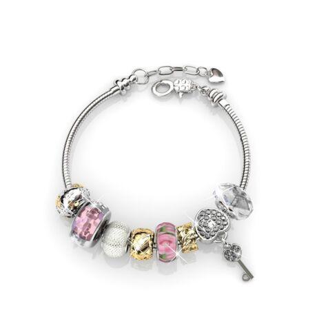 Titkom-Swarovski kristályos karkötő charmmal-rózsaszín