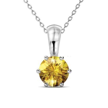 November Birth Stone - Swarovski kristályos nyaklánc - Citrine - sárga