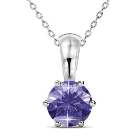 Február -Birth Stone Swarovski kristályos nyaklánc - Amethyst - lila