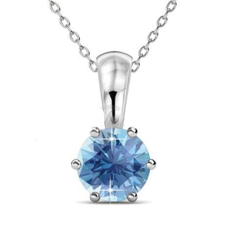 Március-Birth Stone Swarovski kristályos nyaklánc - Aquamarine - kék