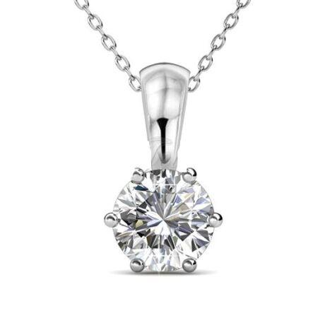 Április-Birth Stone Swarovski kristályos nyaklánc - Diamond - fehér