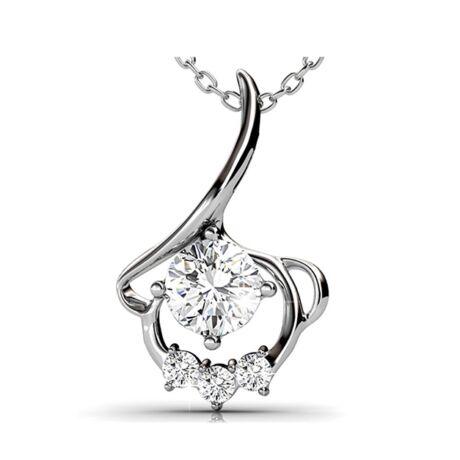 Tulipán - Swarovski kristályos  nyaklánc - fehér