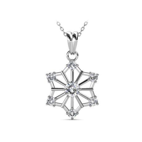Hópihe - Swarovski kristályos  nyaklánc - fehér