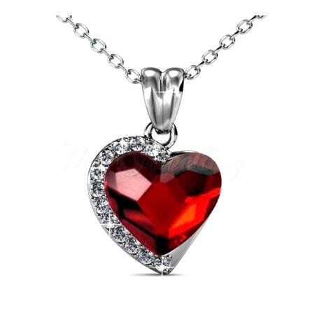 Eloisa - Swarovski kristályos szív alakú nyaklánc díszdobozban - piros