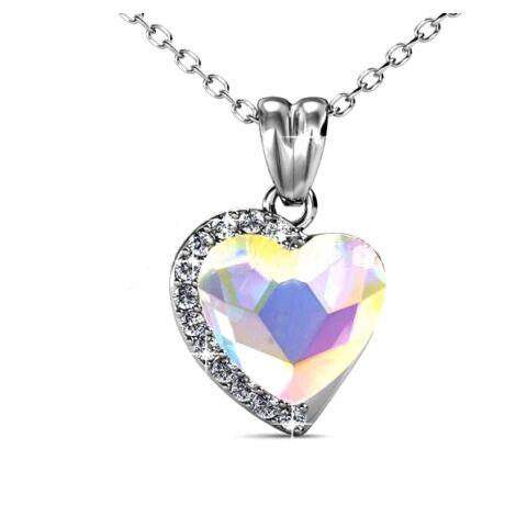 Fiorella - Swarovski kristályos szív alakú nyaklánc díszdobozban - színjátszós fehér