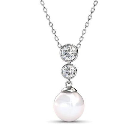Lora - Swarovski kristályos  nyaklánc - fehér
