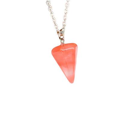 Gúla alakú természetes kőből készült nyaklánc - rózsaszín