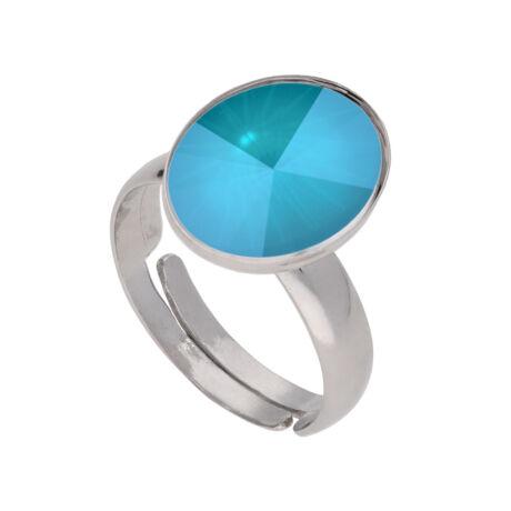 Éledő szín -  állítható méretű Swarovski kristályos gyűrű - Azure Blue Lacquer - kék