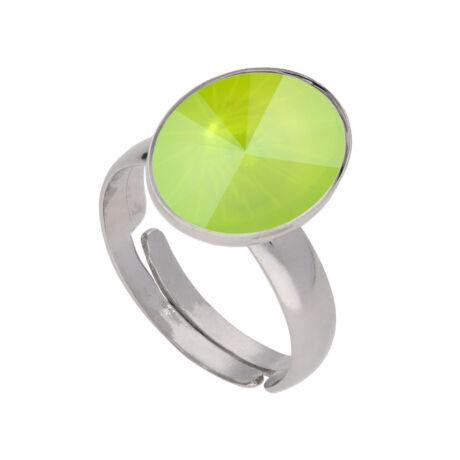 Éledő szín -  állítható méretű Swarovski kristályos gyűrű - Lime Lacquer - zöld