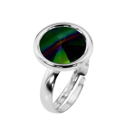 Nemes egyszerűség -  állítható méretű Swarovski kristályos gyűrű - Rainbow dark - zöld