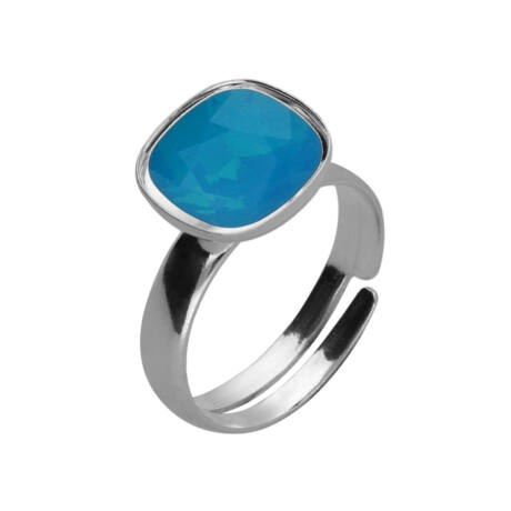 Állhatatos ragyogás -  állítható méretű Swarovski kristályos gyűrű - Caribbean Blue Opal Foiled - fehér
