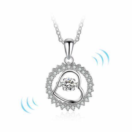 Dancing stone - táncoló cirkóniakővel ékesített nyakék - szív és kör alakú medállal