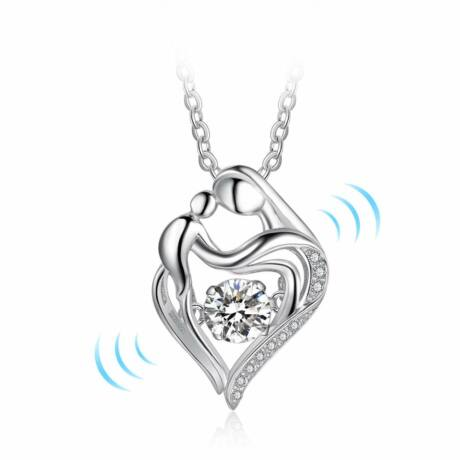 Dancing stone - táncoló cirkóniakővel ékesített nyakék - ékes szív alakú medállal - fehér
