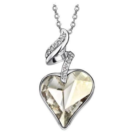 Linda - Swarovski kristályos nyaklánc - ezüst - fehér