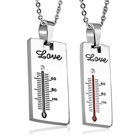 Szerelem Hőmérő- páros acél medál - fehér