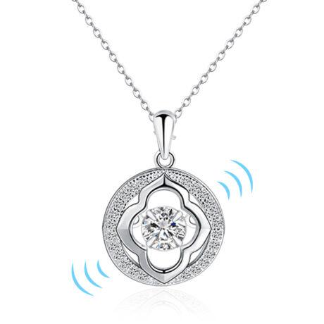 Dancing stone - táncoló cirkóniakővel ékesített nyakék - virág alakú medállal