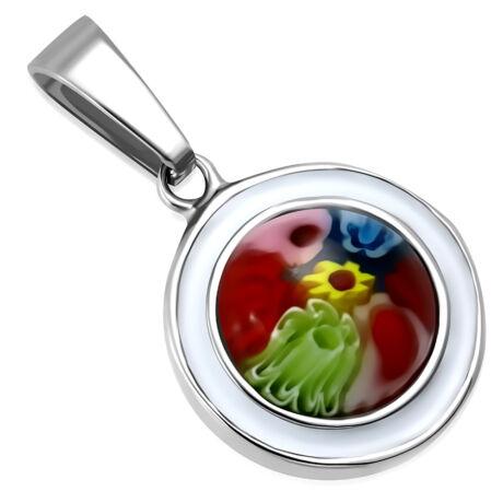 Gravírozható üveg virágos ezüstözött medál