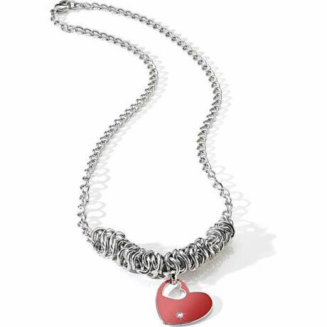 Morellato - Forever Collection,  női nemesacél nyaklánc - ezüst - piros