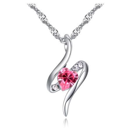 Kawa - Swarovski kristályos nyaklánc- rózsaszín