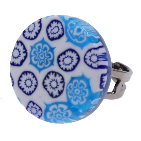 Arlecchino - Muránói üveg, állítható méretű gyűrű - kék, fehér