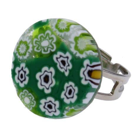 Arlecchino - Muránói üveg, állítható méretű gyűrű - zöld
