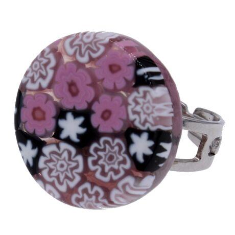 Arlecchino - Muránói üveg, állítható méretű gyűrű - rózsaszín, fehér, fekete