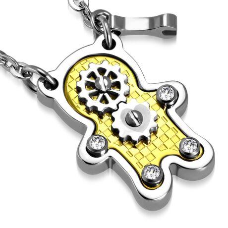 Wheel robot - Acél nyaklánc - természetes kővel - fehér
