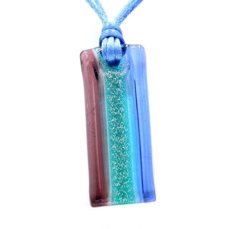 Riviera - Muránói üveg medál - kék, bordó