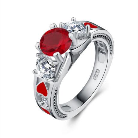 Szerelem pirosban -  cirkóniaköves divatgyűrű