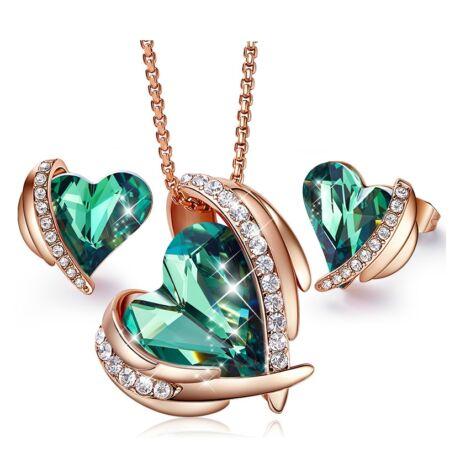 Green Angel- Swarovski kristályos szett-zöld