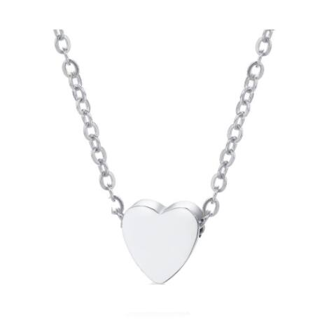 Egy szív- acél nyakék - ezüst színben