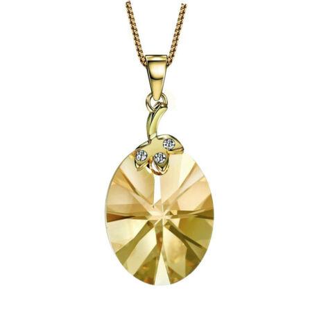 Dalya- Swarovski kristályos nyaklánc - arany-borostyán