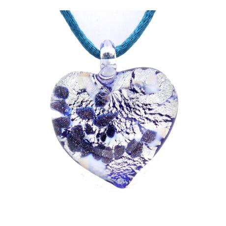 Passione - Muránói üveg medál - kék, ezüst
