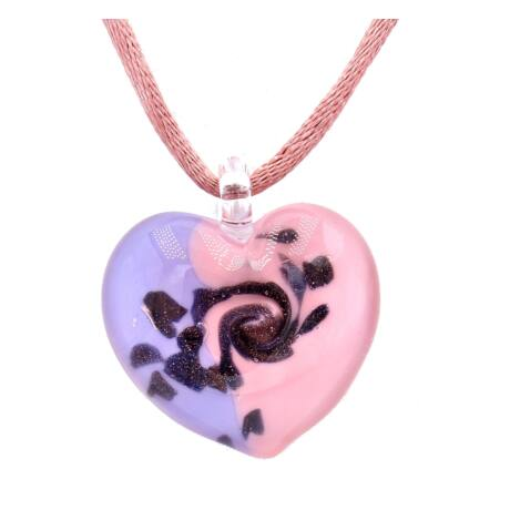Passione - Muránói üveg medál - rózsaszín, bronz