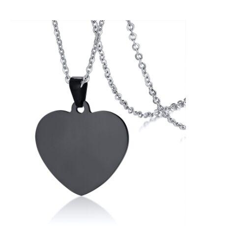 Gravírozható nemesacél medál -  szív alakú - fekete