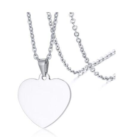 Gravírozható nemesacél medál -  szív alakú - ezüst